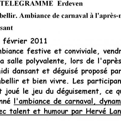 2011 02 26 LE TELEGRAMME ERDEVEN EMBELLIR