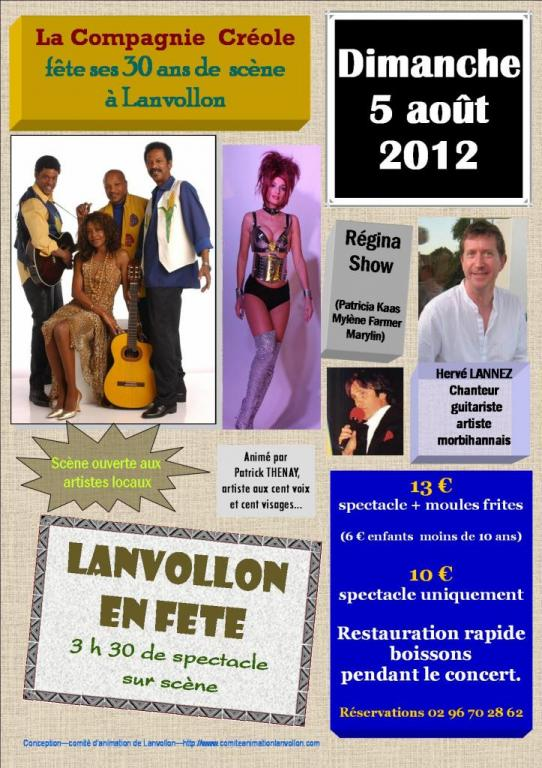2012 08 05 affiche LANVOLLON 1ère partie de LA COMPAGNIE CREOLE