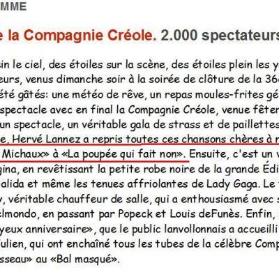 2012 08 05 Le Télégramme 1ère partie COMPAGNIE CREOLE 2000 personnes