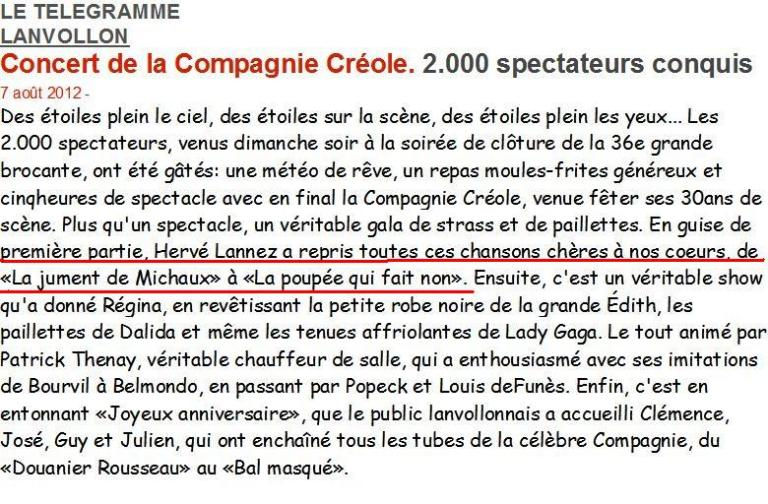 2012 08 05 LANVOLLON LE TELEGRAMME 2000 personnes