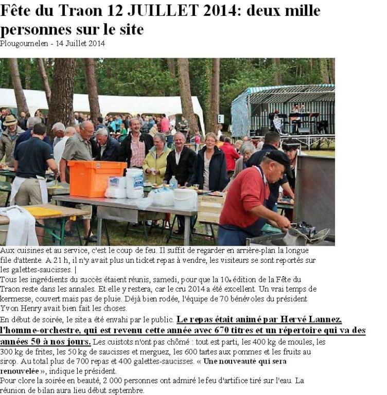 2014 07 12 PLOUGOUMELEN OUEST FRANCE. 2000 personnes