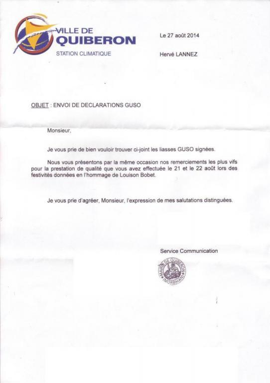 2014 08 21 22 lettre Mairie Quiberon Cinquantenaire Thalasso