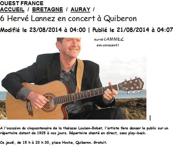 2014 08 21 ET 22 OUEST FRANCE Cinquantenaire Thalasso Quiberon