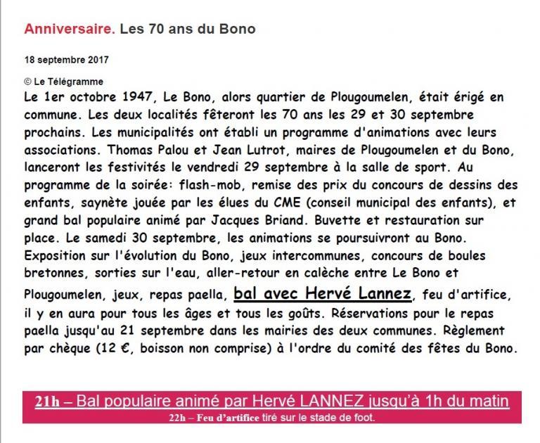 2017 09 30 LE TELEGRAMME 70 ans du BONO