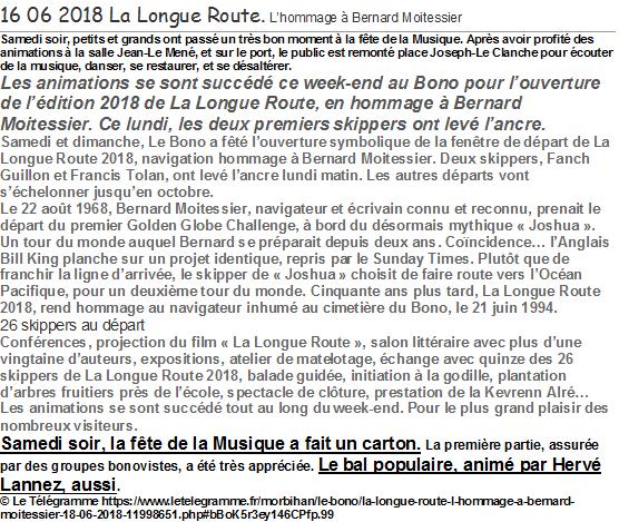 2018 06 16 LE TELEGRAMME du 18 LE BONO Bal