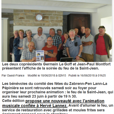 2018 06 23 Ouest France Feu St Jean MELLAC
