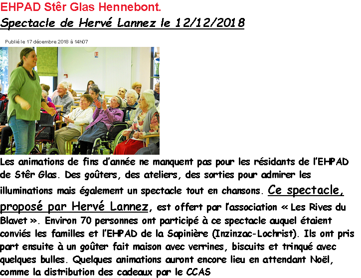2018 12 12 EHPAD Hennebont  Le Télégramme