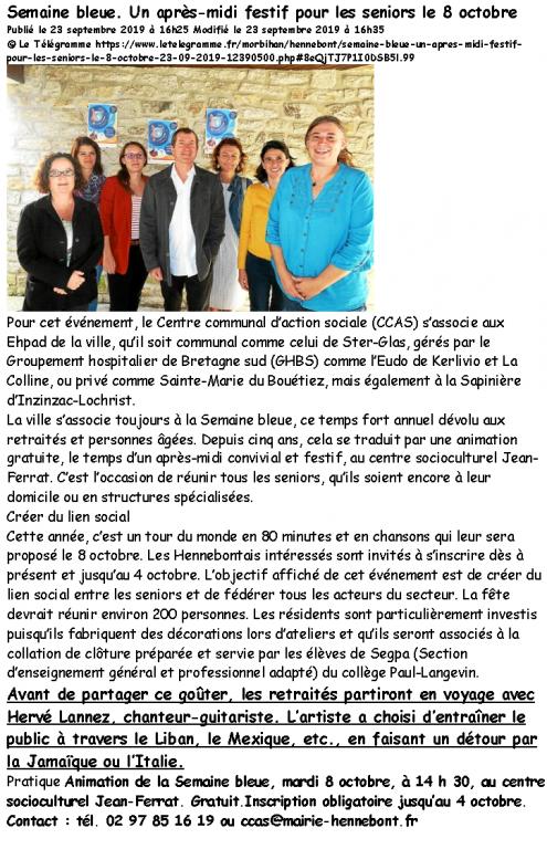 2019 10 08 Hennebont Semaine Bleue Le Télégramme