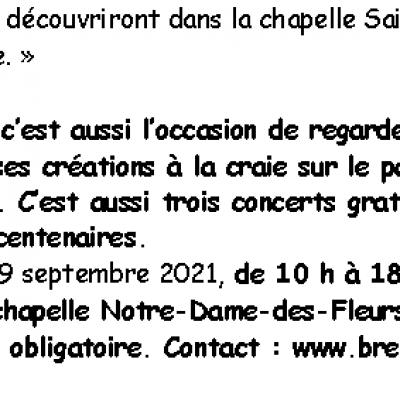 2021 09 19 ouest france brec h chapelles en art 2