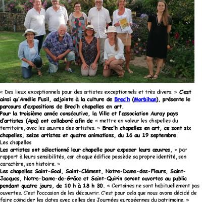 2021 09 19 ouest france brec h chapelles en art
