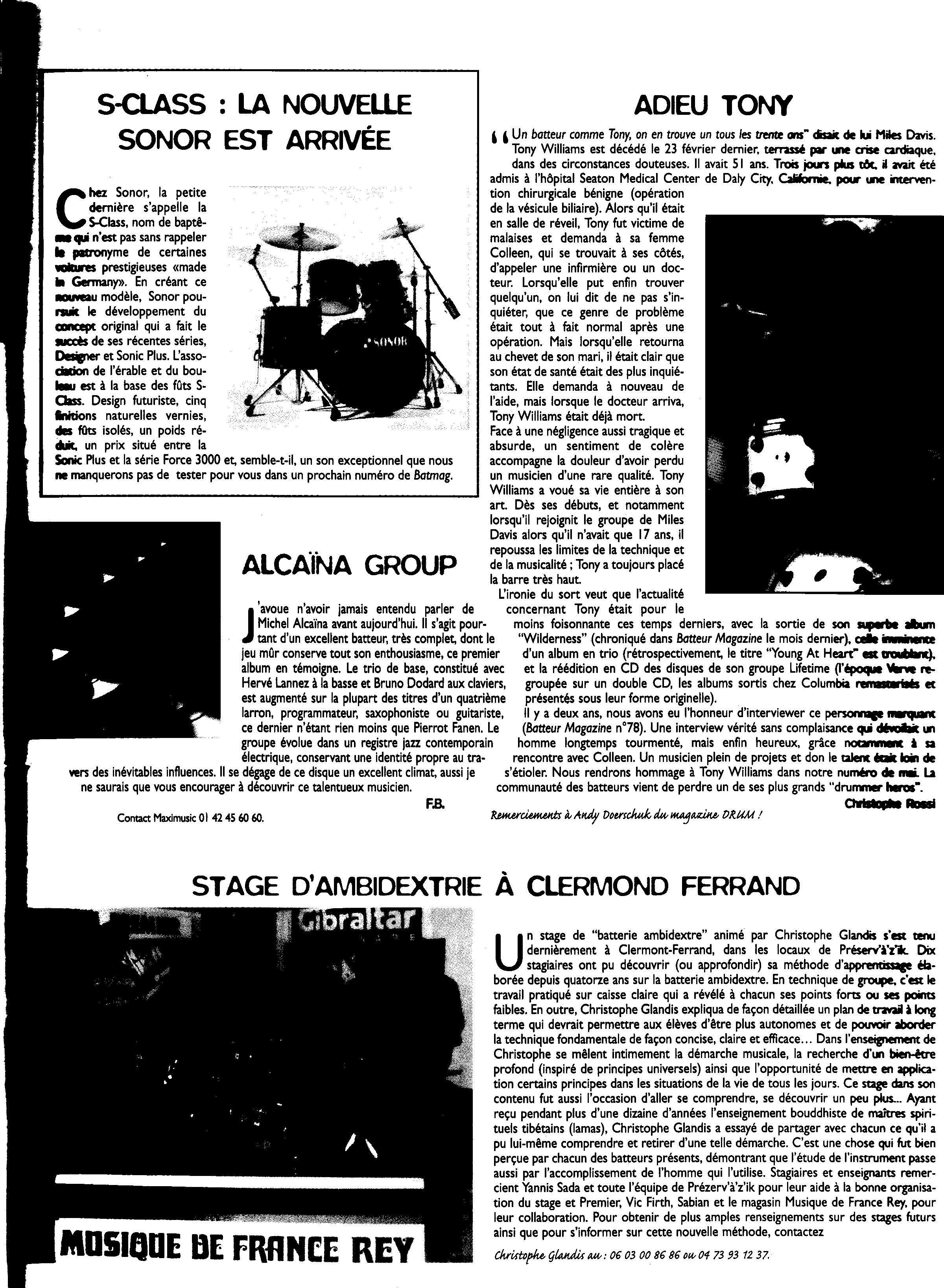ALCAINA ARTICLE BATTEUR MAGASINE1997